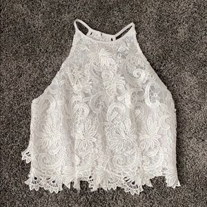Guess. White Lace Crop Top
